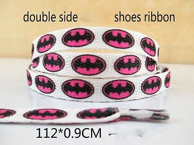 1 PAIR OF BATMAN PINK LOGO DOUBLE SIDED PRINTED SHOE LACES LOOK