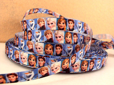 1 METRE BLUE NEW FROZEN RIBBON SIZE 3/8 BOWS HEADBANDS BIRTHDAY CAKE HAIR CLIPS