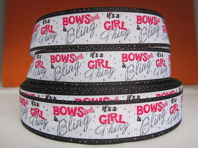 1 METRE BOWS + BLING ITS A GIRL THING RIBBON SIZE 7/8 BOWS HEADBANDS HAIR CAKE