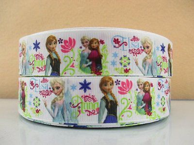 1 METRE ELSA + ANNA FROZEN FLOWER RIBBON SIZE INCH BOWS HEADBANDS BIRTHDAY CAKE #40