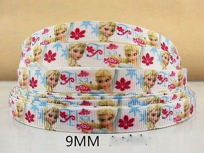 1 METRE FROZEN ELSA RIBBON SIZE 3/8 BOWS HEADBANDS BIRTHDAY CAKE HAIR CLIPS