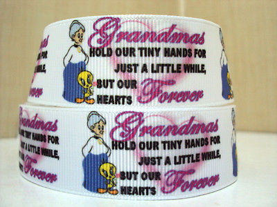1 METRE GRANDMA IN OUR HEART FOREVER RIBBON SIZE 1 INCH BOW HEADBANDS CLIPS CAKE