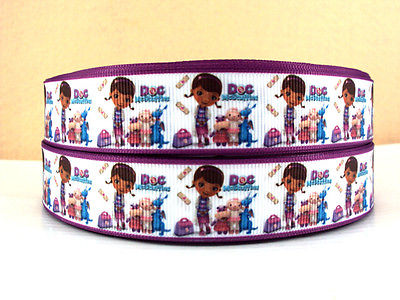 1 METRE NEW DOC MCSTUFFINS + FRIENDS RIBBON SIZE 7/8 BOWS HEADBANDS BABY CAKE #18
