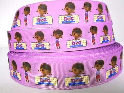 1 METRE NEW DOC MCSTUFFINS RIBBON SIZE 7/8 BOWS HEADBANDS BABY HAIR CAKE #7