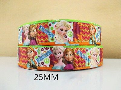 1 METRE NEW ELSA + ANNA  FROZEN RIBBON SIZE 1 INCH BOWS HEADBANDS BHDAY CAKE #67