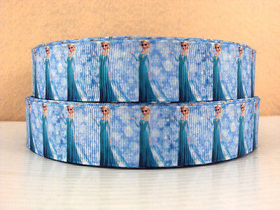 1 METRE NEW ELSA FROZEN RIBBON SIZE 1 INCH BOWS HEADBANDS BIRTHDAY CAKE CLIPS #58