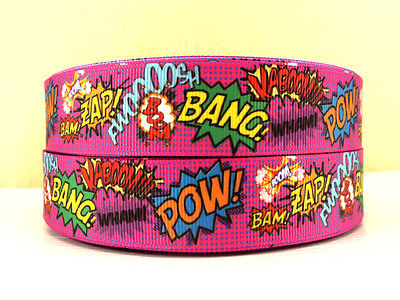 1 METRE NEW PINK CARTOON SLOGAN RIBBON POW ZAP BANG 1 INCH BOWS HEADBANDS HAIR CAKE