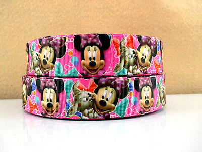 1 METRE NEW PINK MINNIE MOUSE AND DOG RIBBON SIZE 1 INCH HEADBAND BOWS CAKE #15