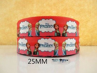 1 METRE NEW RED FROZEN ELSA + ANNA RIBBON SIZE 1 INCH BOWS HEADBANDS CAKE HAIR #44