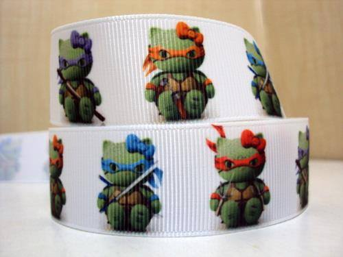 1 METRE OF HELLO KITTY TURTLES RIBBON SIZE 7/8s