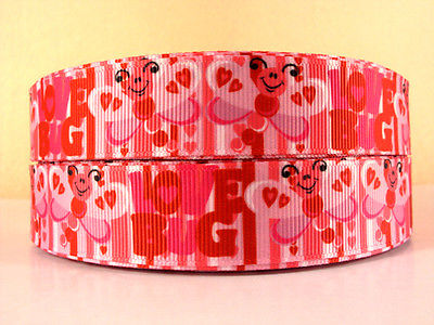 1 METRE PINK LOVE BUG RIBBON SIZE 7/8 HEADBANDS BOWS CLIPS BIRTHDAY CAKE