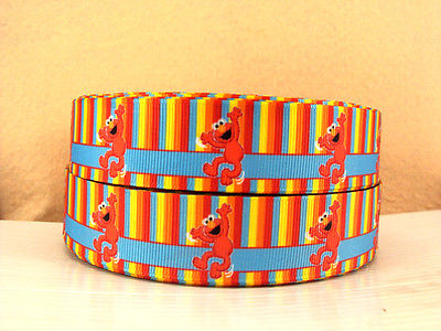 1 METRE STRIPED ELMO SESAME STREET RIBBON SIZE 1 INCH BOWS HEADBANDS HAIR CLIPS #117