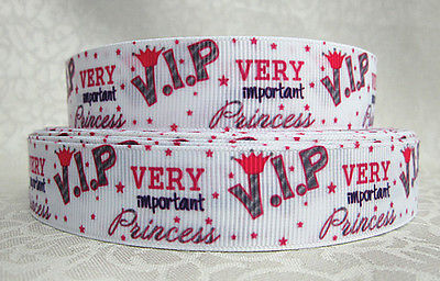 1 METRE V.I.P VERY IMPORTANT PRINCESS RIBBON SIZE 1 INCH BOWS HEADBANDS CAKE