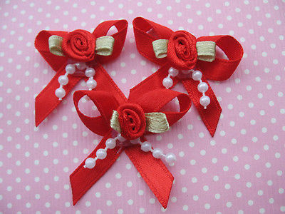 10 x 1.25 INCH RED BOW WITH ROSEBUD AND BEADS HEADBANDS BABY SOCKS SHOES BOWS