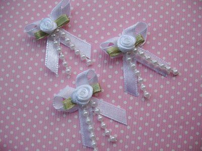 10 x 1.25 INCH WHITE BOW WITH ROSEBUD + BEADS HEADBANDS BABY SOCKS SHOES BOW