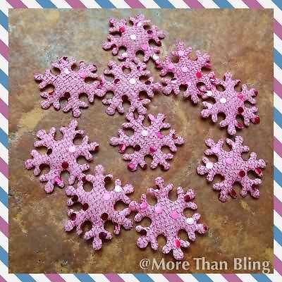 10 X 1.5 INCH PINK SNOWFLAKE APPLIQUE EMBELLISHMENTS HEADBANDS CARD MAKING