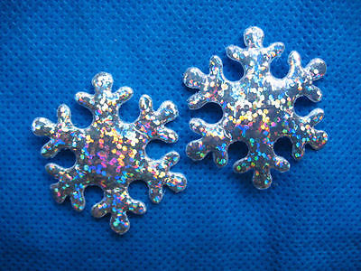 10 X 1.5 INCH SILVER SNOWFLAKE APPLIQUE EMBELLISHMENTS HEADBANDS BOWS CARD MAKING