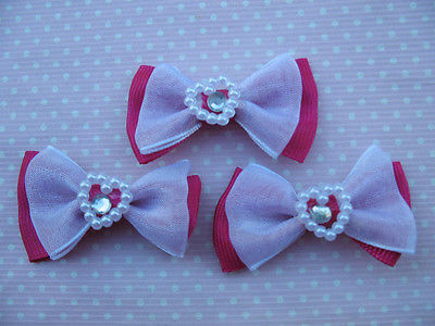 10 x 1.75 INCH HOT PINK BOWS WITH HEART CENTRE HEADBANDS SOCKS BOWS