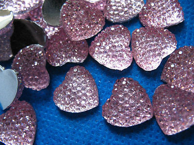 10 x 14mm FLAT BACK RESIN PINK HEART GEMS EMBELLISHMENTS PHONE CASE HEADBANDS CARD MAKING