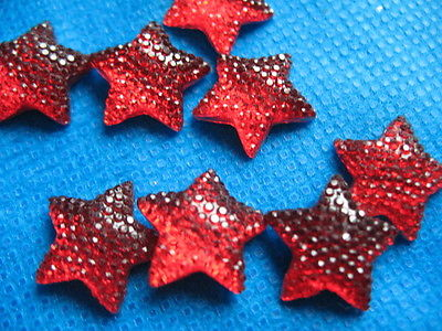 10 x 16MM RED GLITTER STAR FLAT BACK BOW CENTRE EMBELLISHMENTS HEADBANDS BOWS CARD MAKING
