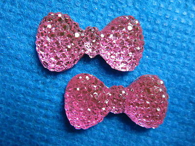 10 x 24mm PINK GLITTER FLAT BACK BOWS GEMS EMBELLISHMENTS HEADBANDS HAIR BOWS