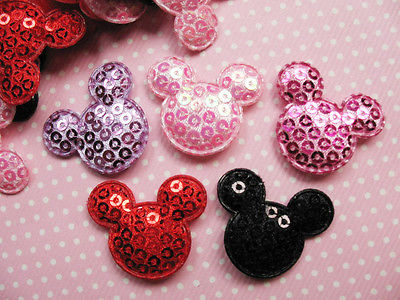 10 x 28MM SEQUIN MICKEY MINNIE HEAD APPLIQUE EMBELLISHMENT HEADBANDS DUMMY CLIPS BOWS CARD MAKING