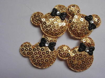 10 x GOLD SEQUIN MINNIE HEAD APPLIQUE EMBELLISHMENT HEADBANDS DUMMY CLIPS BOWS