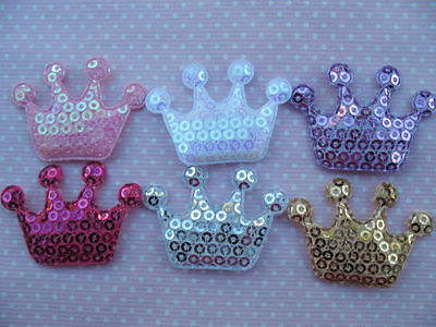 10 x SEQUIN CROWN PADDED APPLIQUE EMBELLISHMENT HEADBANDS DUMMY CLIPS BOWS CARD MAKING