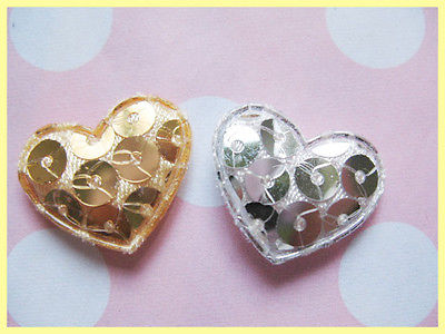 10 x SILVER + GOLD HEART 20MM APPLIQUE EMBELLISHMENT HEADBANDS BOWS CARD MAKING PLAQUES