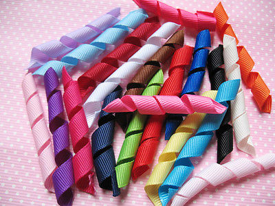 100 PCS PRECUT AND CURLED GROSGRAIN KORKER RIBBON PERFECT FOR BOBBLES HEADBANDS