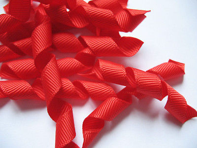 100 PCS PRECUT CURLED GROSGRAIN RED KORKER RIBBON BOWS BOBBLES HEADBANDS