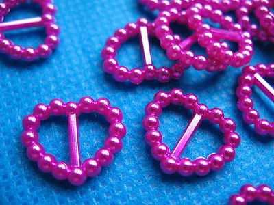 10x 15MM PEARL BRIGHT PINK RIBBON SLIDER FOR HAIR BOWS HEADBANDS