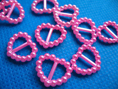 10x 15MM PEARL PINK RIBBON SLIDER FOR HAIR BOWS HEADBANDS