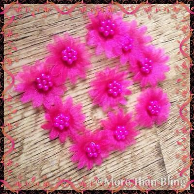 10x BRIGHT PINK ORGANZA DAISY BEADED FLOWER EMBELLISHMENTS HEADBAND APPLIQUES
