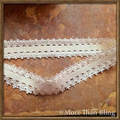 2 YARD CREAM FRILLY EDGE ELASTIC SIZE 3/4 PERFECT FOR HEADBANDS FOE