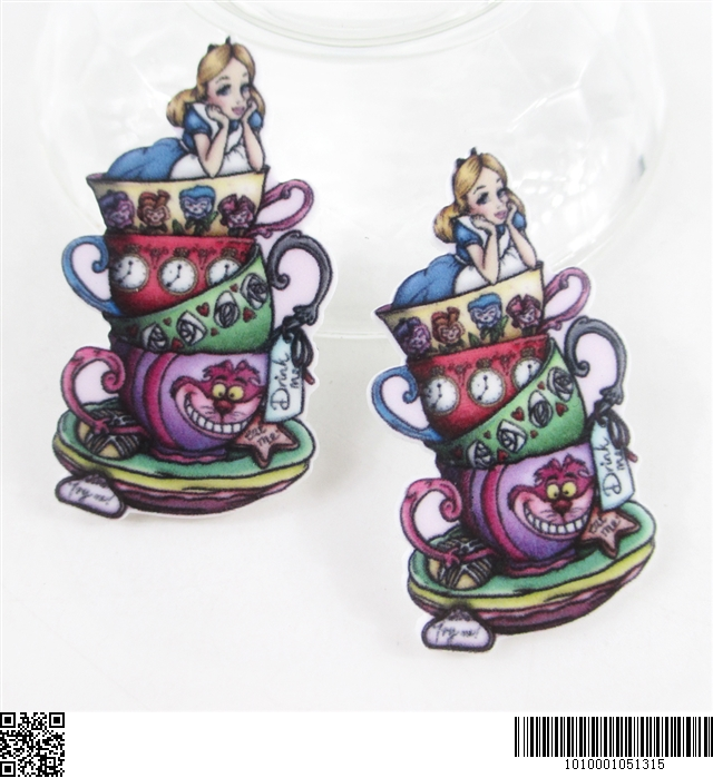 5 x 25MM ALICE IN WONDERLAND TEA CUP LASER CUT FLAT BACK RESIN HEADBANDS BOWS CRAFTS CARD