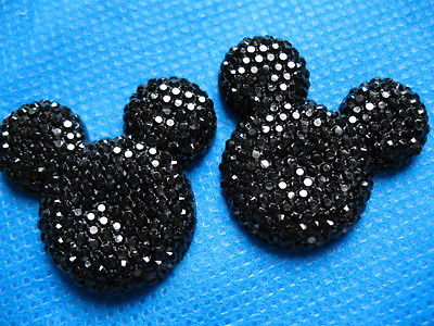 5 x 35mm BLACK GLITTER FLAT BACK RESIN MOUSE HEAD GEMS EMBELLISHMENTS HEADBANDS BOWS CARD MAKING