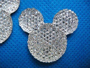 5 X 35MM GLITTER SILVER MINNIE MICKEY MOUSE FLAT BACK RESIN HAIR BOWS HEADBANDS FLAT BACK RESIN