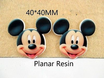 5 x 40mm MICKEY MOUSE LASER CUT FLAT BACK RESIN BOWS HEADBANDS CARD MAKING PLAQUES