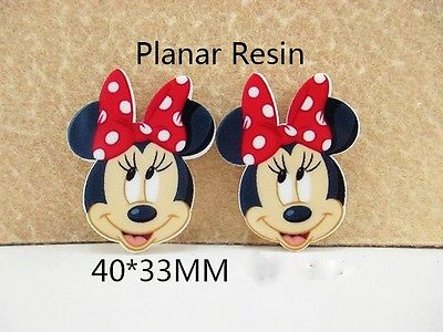 5 x 40mm MINNIE MOUSE WITH RED + WHITE BOW LASER CUT FLAT BACK HEADBANDS HAIR BOWS