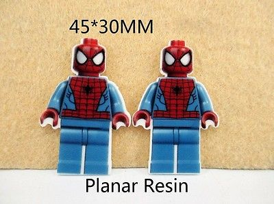 5 x 45mm SPIDERMAN LEGO LASER CUT FLAT BACK RESIN HAIR BOWS HEADBANDS CARD MAKING LOOK SALE