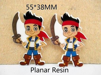 5 x 55mm JAKE AND THE NEVER LAND PIRATES LASER CUT FLAT BACK RESIN HEADBANDS HAIR BOWS