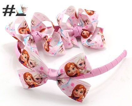 ANNA + ELSA WRAPPED HEADBAND AND BOW PLUS TWO MATCHING 3 INCH BOWS WITH ADDED ALIGATOR CLIP (2)